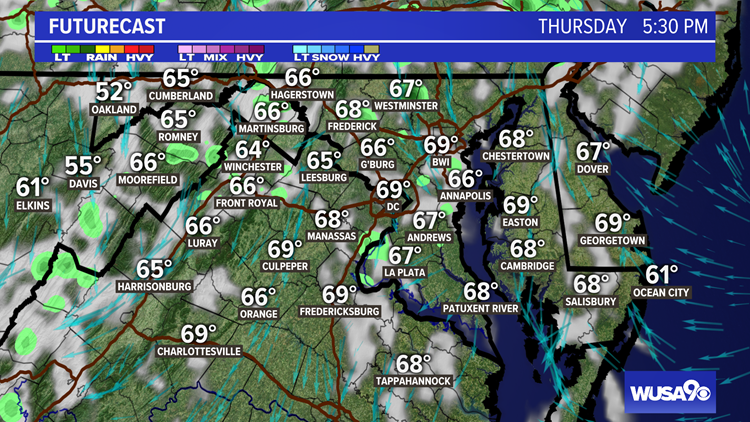 Nice Thursday with a sprinkle possible. Here is the DC area forecast