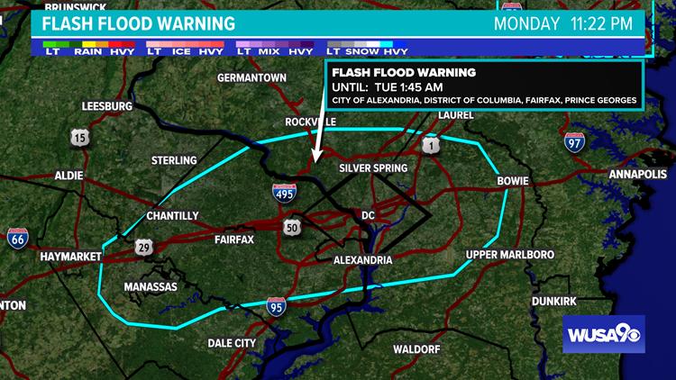 Flash Flood Warning for DC, Alexandria, Arlington, Fairfax, Montgomery Counties until 1:45 am