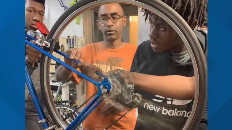 Get Up Give Back gives $1000 to Gearin' Up Bicycles.