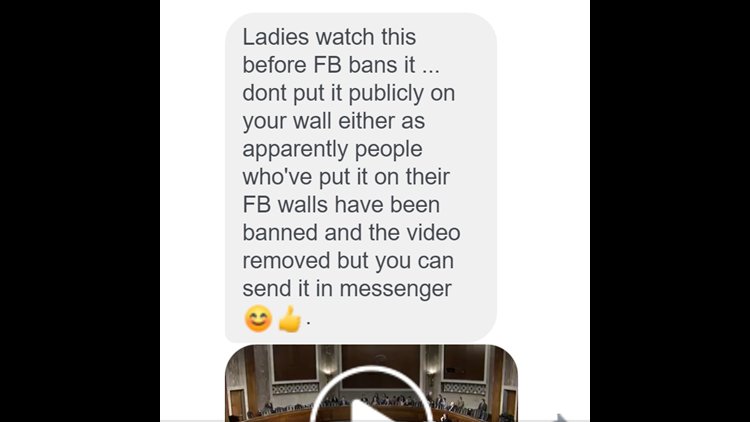 This message, circulating on Facebook Messenger, claims that Facebook is banning a video of Sen. Tom Cotton (R-AR)