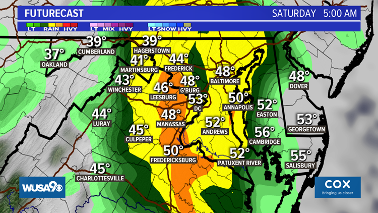 Heavy rain ends early Saturday morning for the DMV, some mountain snow over the weekend
