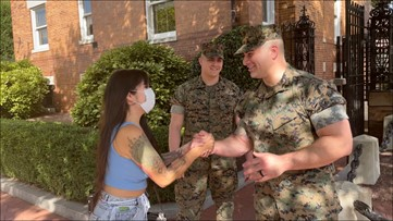 'The Marines answered my prayer' | Woman rescued from flood near Arlington National Cemetery reunites with Marine heroes