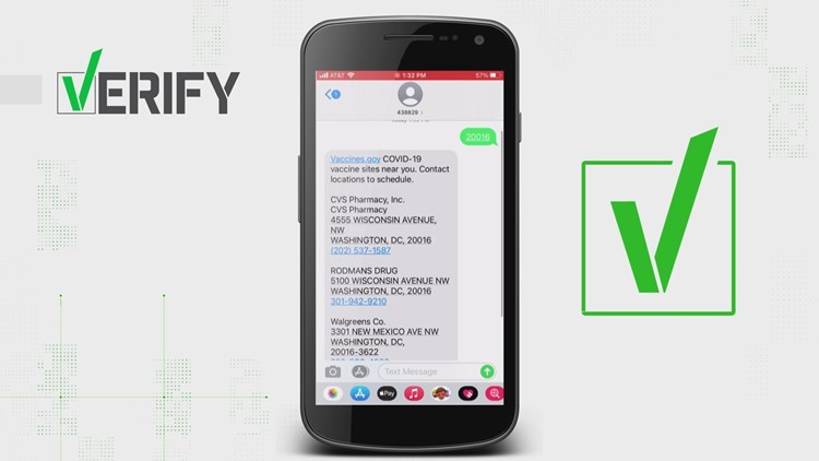 VERIFY: Yes, texting your zip code to '438829' will send you 3 nearby locations with COVID vaccines