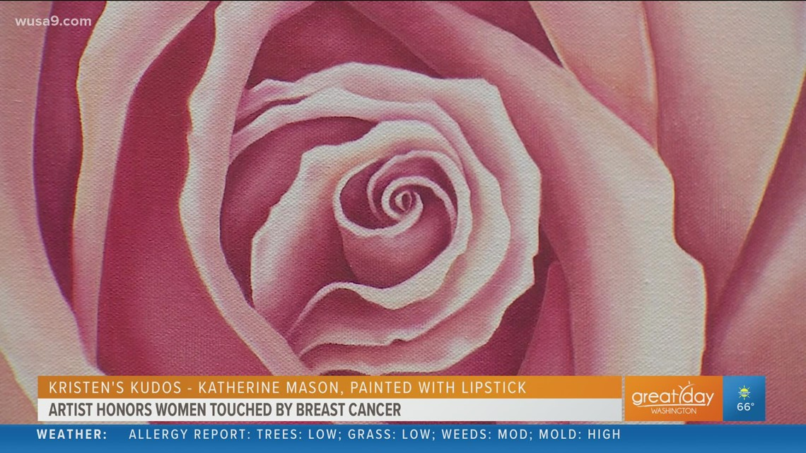 Artist paints with lipstick to honor breast cancer fighters