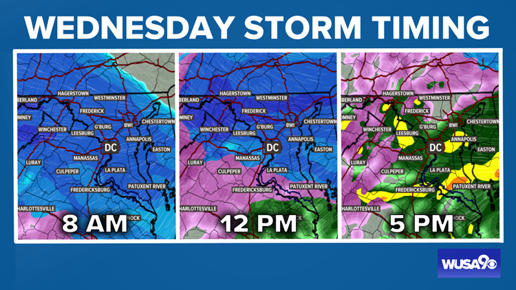 TIMELINE: Here's when to expect snow, sleet, freezing rain and rain on Wednesday