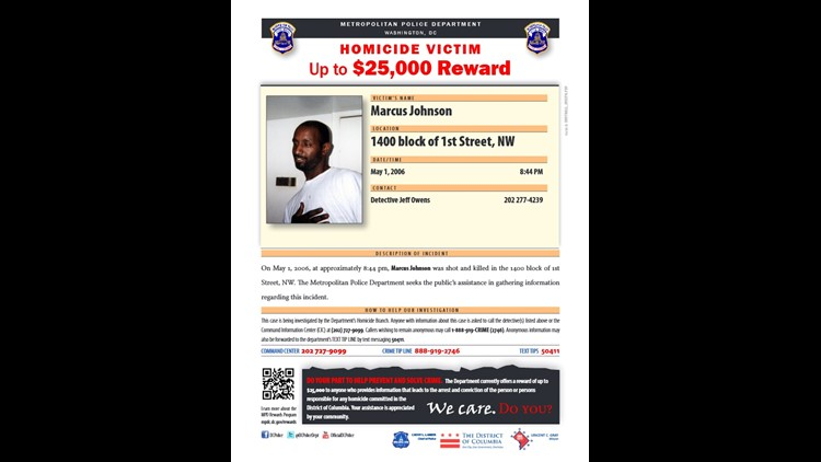 DC Police homicide flyer for Marcus Johnson