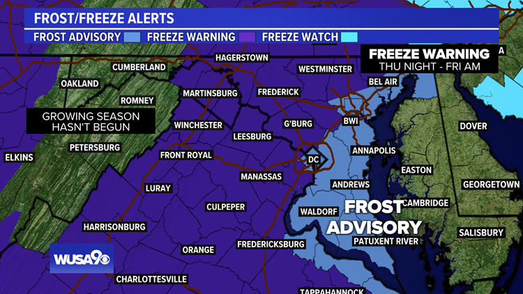 Freeze Warnings, Frost Advisories cover the entire DMV Thursday evening