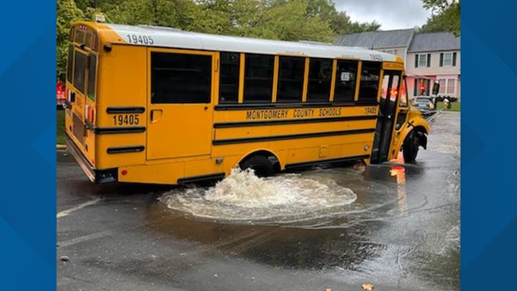 Montgomery County school bus stuck after water main break