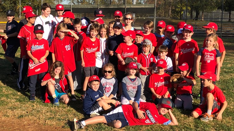 Greats Falls Little League cheer on the Washington Nationals