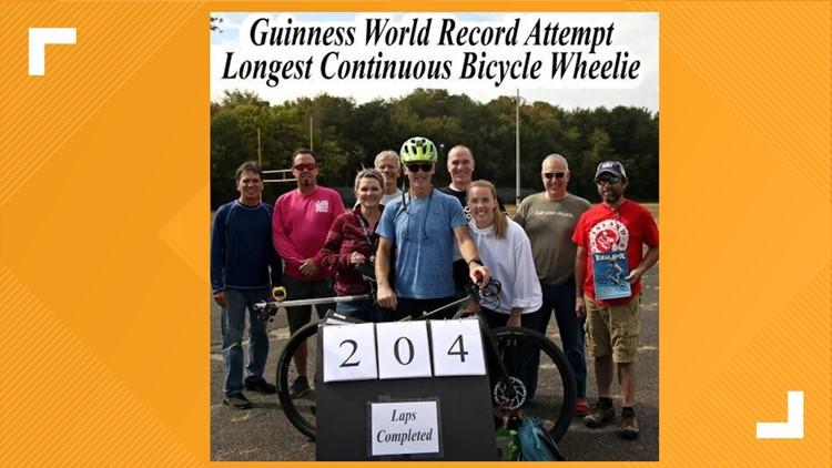 guiness world record attempt longest continuous bicycle wheelie