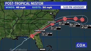 Nestor no longer a tropical storm,  will bring rain to DMV Sunday