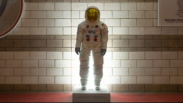Statue of Neil Armstrong's spacesuit unveiled at Nats Park