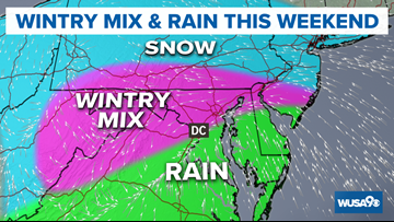 Wintry mix and dangerous flash freeze and wind chills for DC MLK weekend