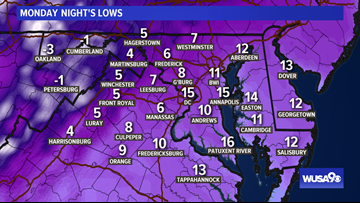 Deep Arctic Freeze: temps fall into the 0s, 10s Tuesday morning, near freezing in the afternoon