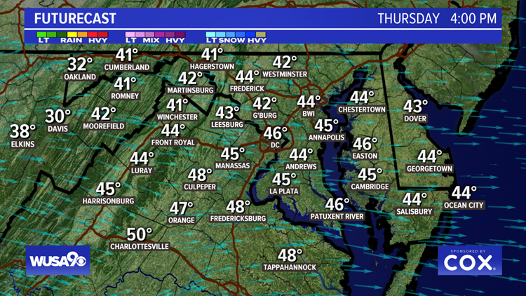 Blustery Thursday afternoon with wind chills in the 30s and low 40s