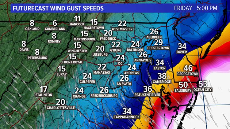 Futurecast Wind Gust Speeds