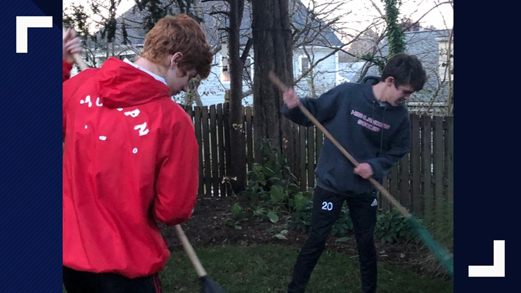 Teens sign up for jobs such as raking or lawn mowing