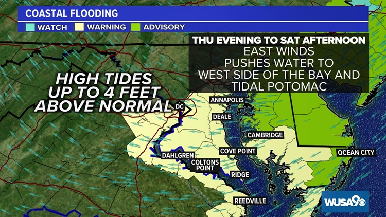 Worst coastal flooding event in 10 to 20 years expected in DC region Friday. Here's the timing