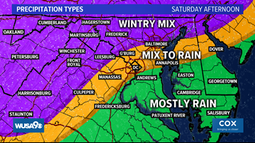 Winter slop and rain continue Saturday afternoon in the DMV