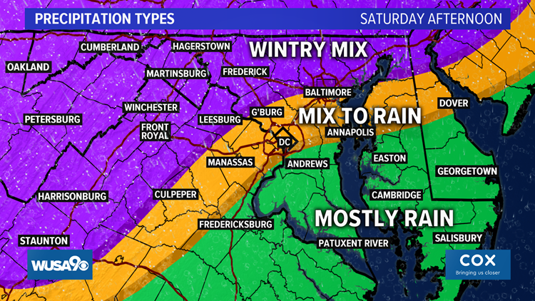 Precipitation Types Sat Afternoon