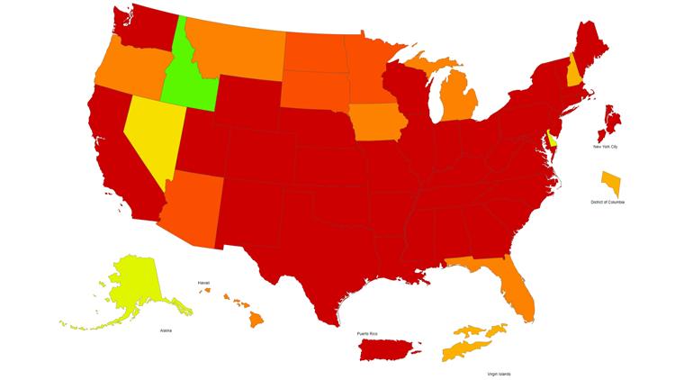 CDC map of Influenza-Like Illness Activity Level