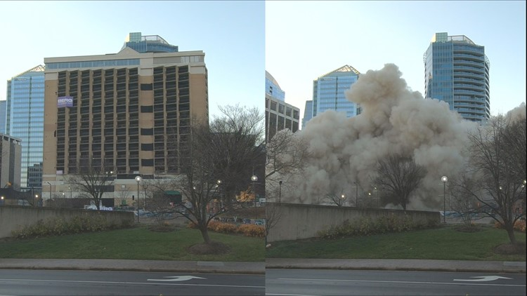 Controlled implosion levels Rosslyn hotel in seconds