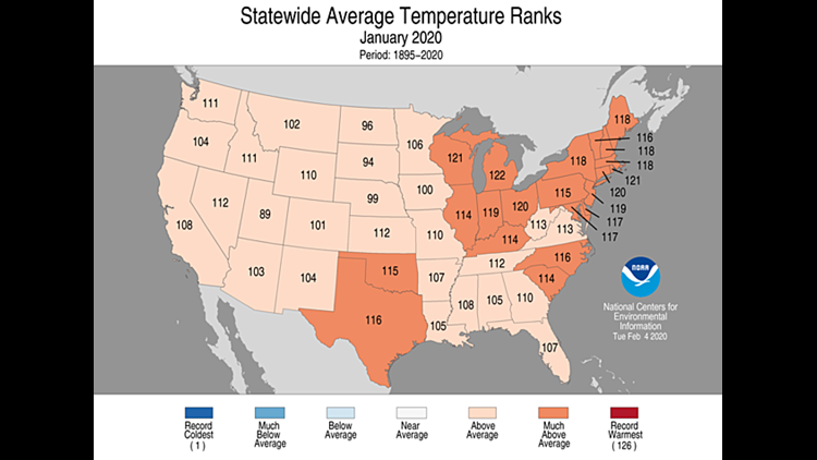 Statewide average temperature ranks