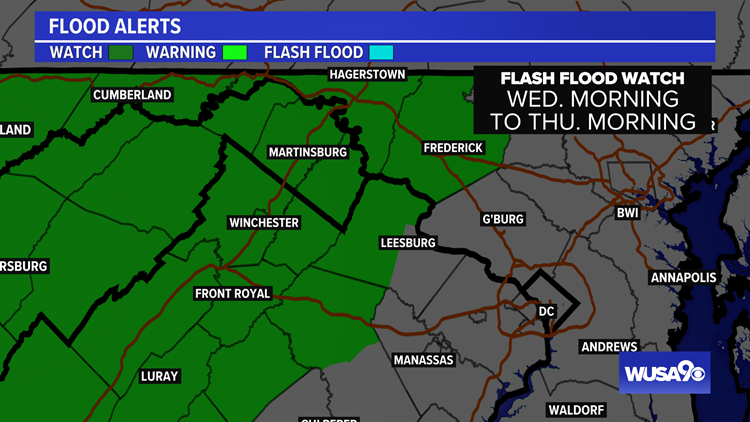 Flash Flood Watch for parts of the DC area. Here's the forecast