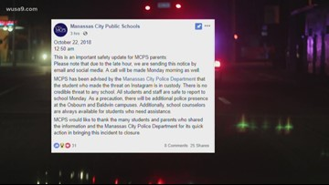 Threats made toward 2 Manassas City Public Schools