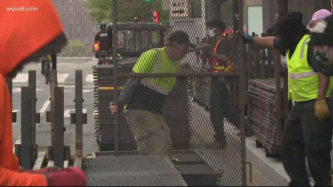 Part of White House security fencing taken down