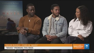 Sterling K. Brown talks about new film 'Waves' with co-stars Kelvin Harrison Jr and Taylor Russell