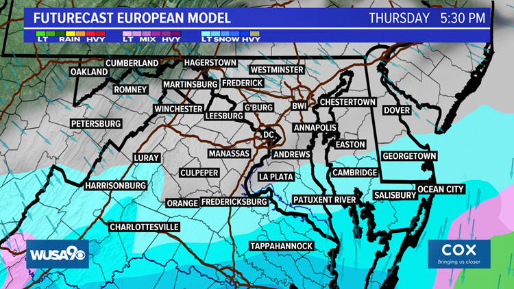 Cold finish to the week with snow close to the DMV Thursday night