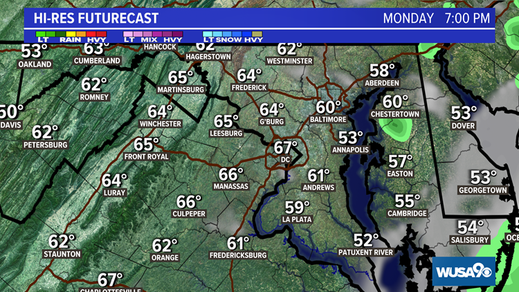 Seasonably cool Monday with showers clearing