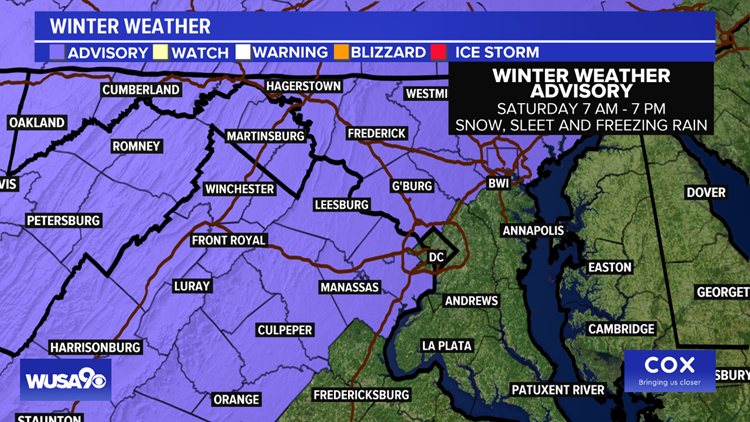 Winter Weather Advisory Saturday in the DMV: Snow, sleet and freezing rain likely