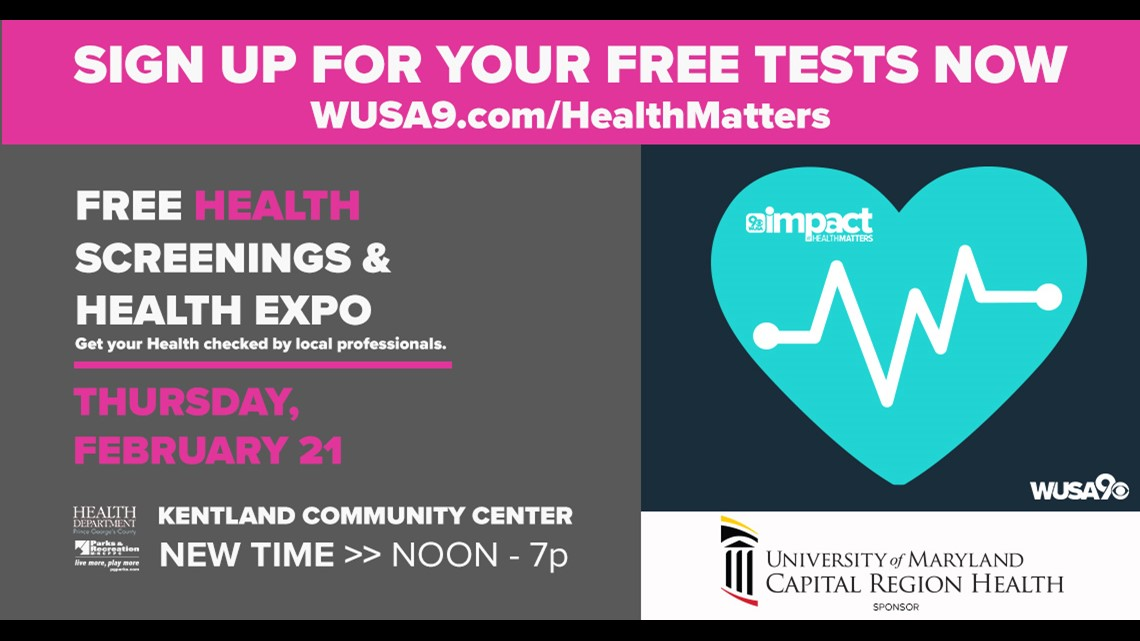 Get your free screenings at WUSA9's health expo on Feb. 21