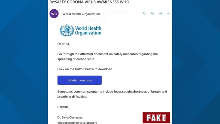 WHO scam email