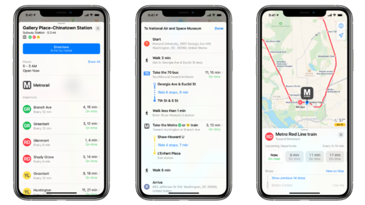 Apple Map users can now see real-time Metro train and bus info