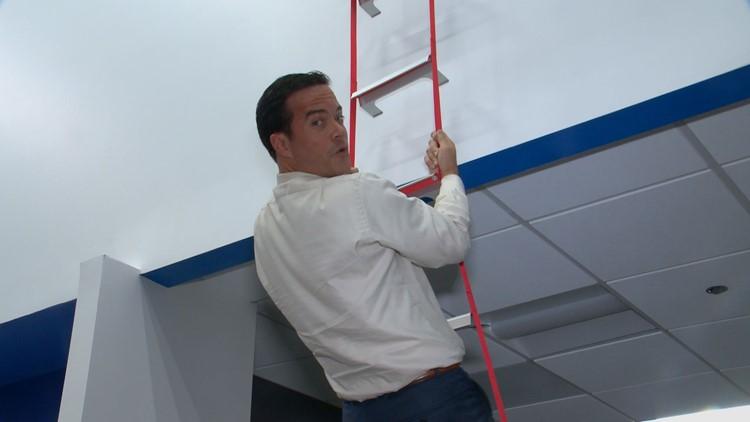 Baca on fire escape ladder