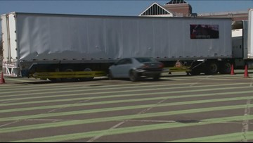 Dramatic crash tests outside Audi Field show dangers of semi-trailer