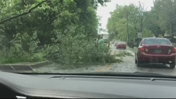 Damage from a potential tornado in Columbia, Md.