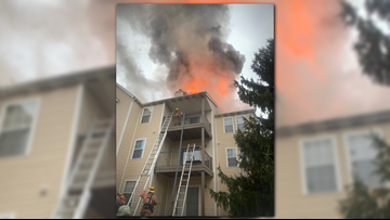 Several families displaced after large apartment fire in Gaithersburg, Maryland