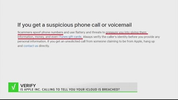 VERIFY: Apple Support is not making calls about your iCloud account being breached, beware of scam