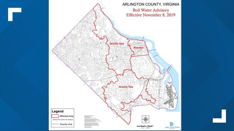 Arlington Bowl Water Advisory map