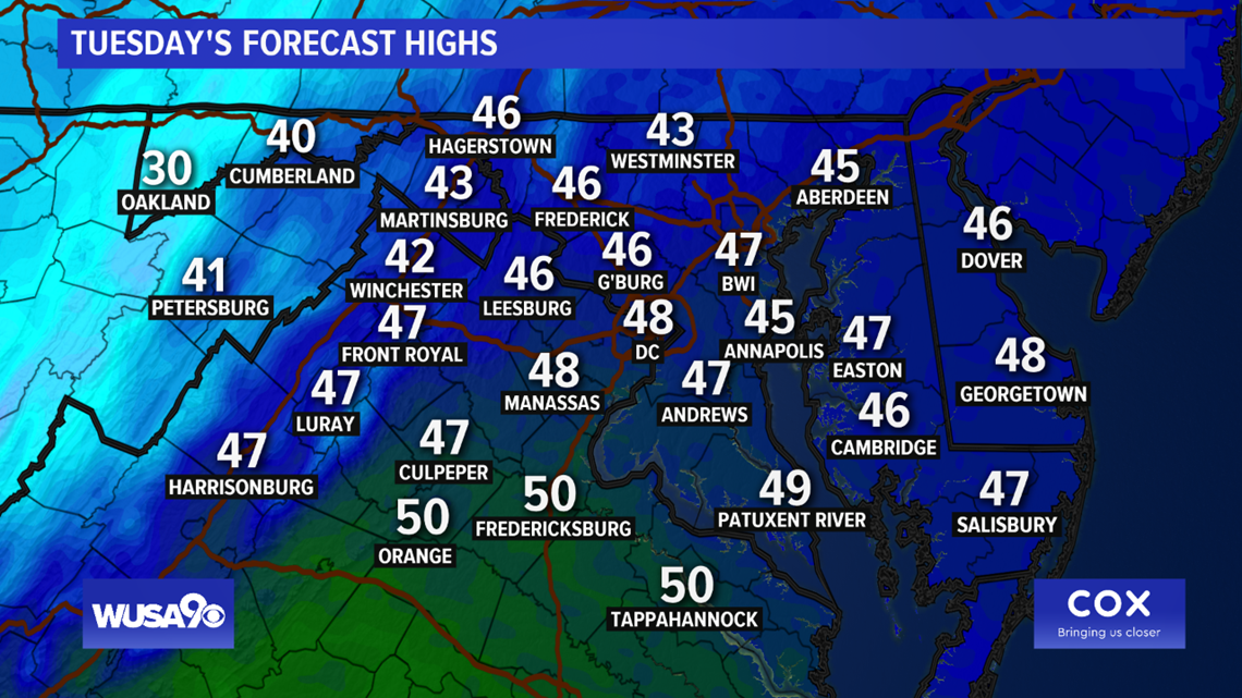 Wind chills in the 20s and 30s Tuesday