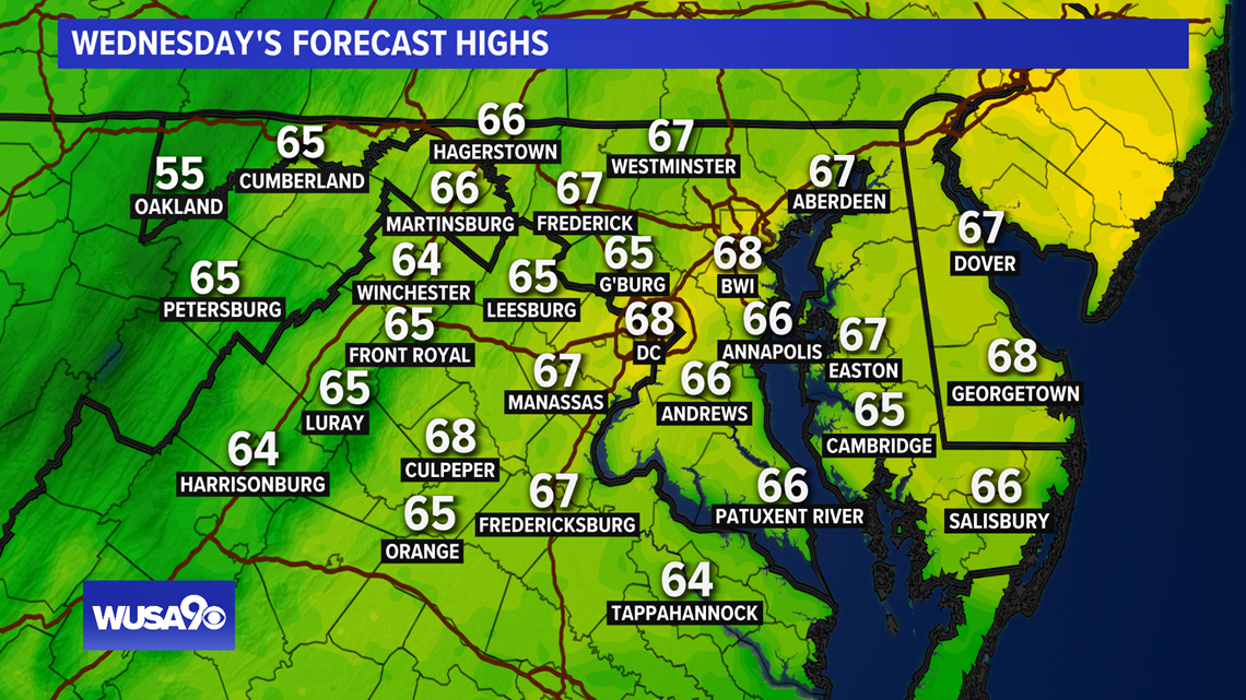 Staying cool Wednesday and Thursday. Here is the DC area forecast