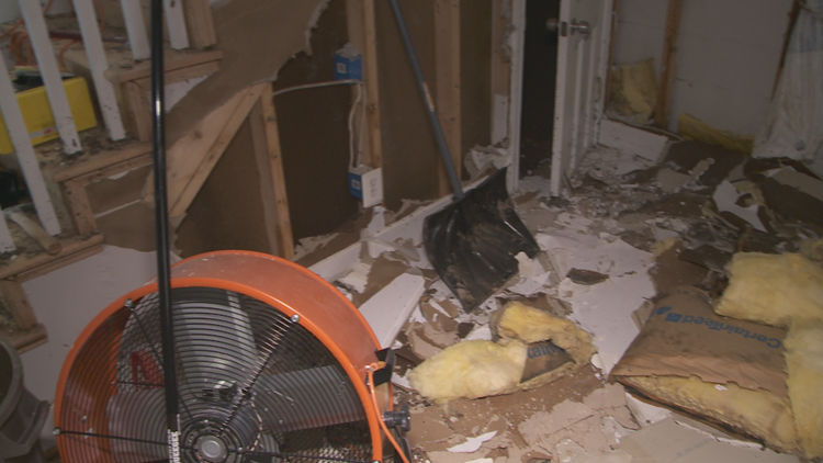 Damage inside Wendy Naus's Home