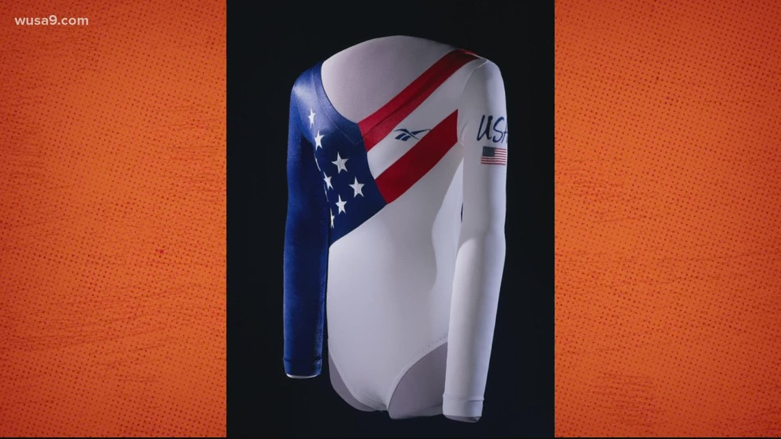 Dominique Dawes' leotard on display at the Smithsonian