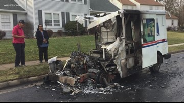USPS truck catches fire during mail delivery in Chantilly, Virginia