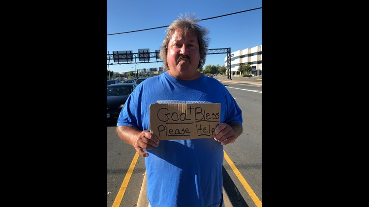 Billy panhandles outside the Springfield Town Center