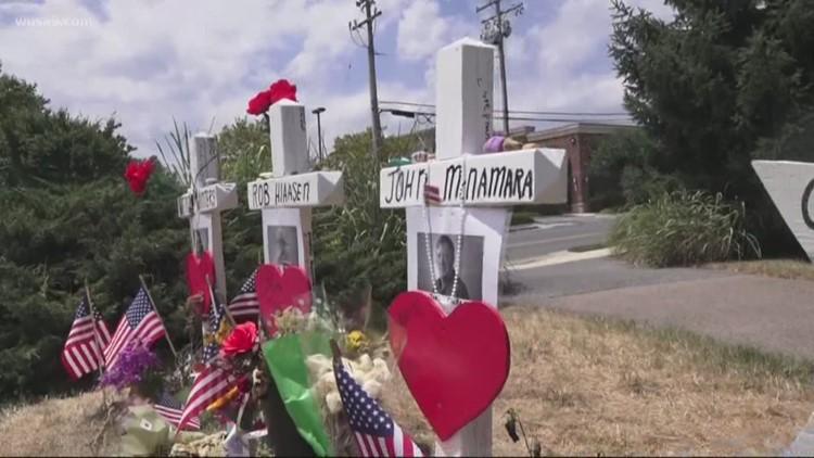 Crosses built for Capital Gazette shooting victims